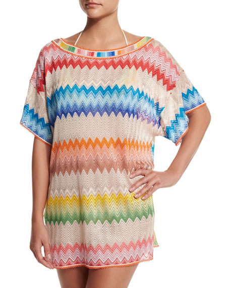 Missoni Mare Zigzag-Print Short-Sleeve Tunic Coverup, Multi
