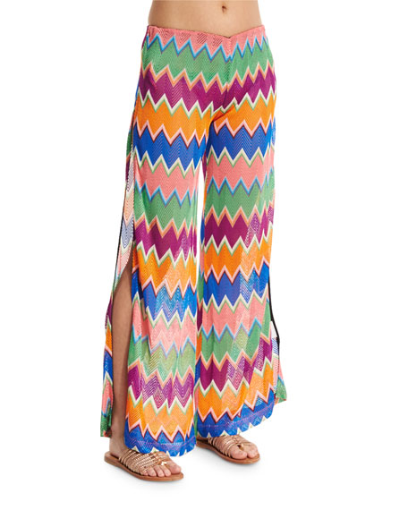 Missoni Mare Zigzag Wide-Leg Coverup Pants, Multi Colors