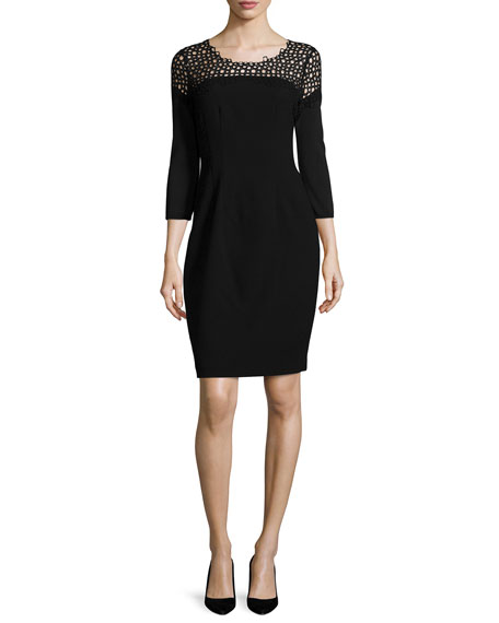 Elie Tahari Suzie 3/4-Sleeve Sheath Dress