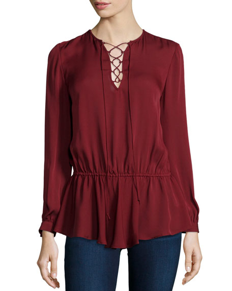 Rebecca Minkoff North Lace-Up Long-Sleeve Top, Wine