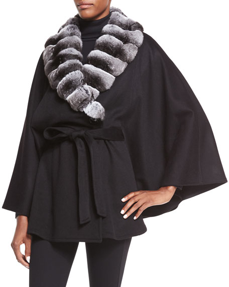 Sofia Cashmere Cashmere Cape W/ Fur Collar, Natural