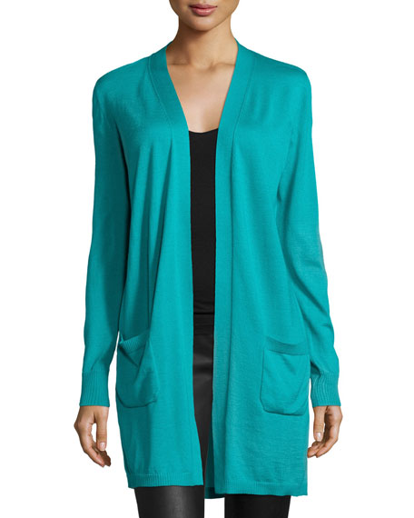 Lafayette 148 New York Long-Sleeve Open-Front Cardigan, Splash