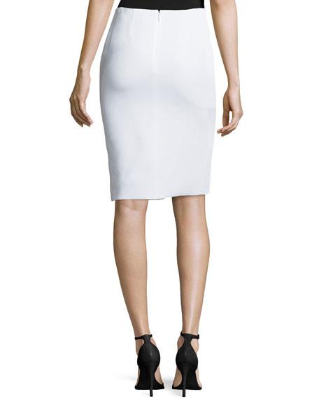 versace front slit pencil skirt white