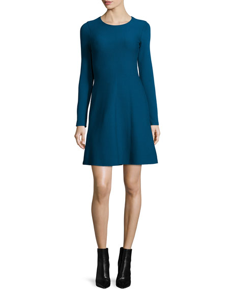 RVN Long-Sleeve A-Line Dress, Poseidon