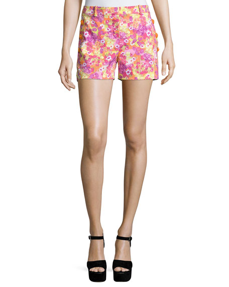 Versace Floral-Print Woven Shorts, Orange