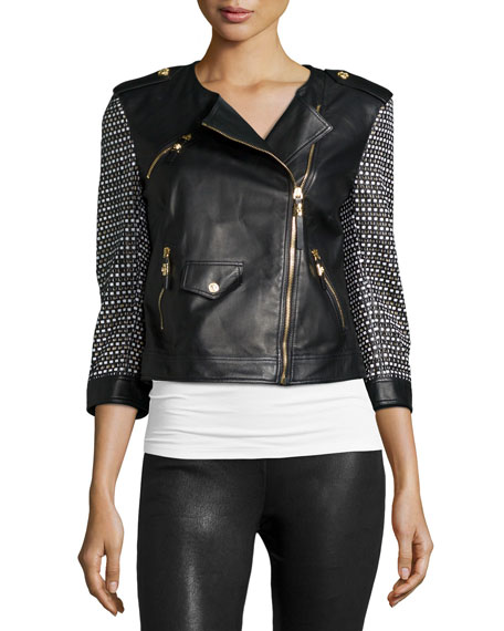Versace 3/4-Sleeve Combo Moto Jacket, Black/White