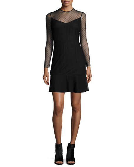 Rag & Bone Charlotte Swiss Dot Dress, Black