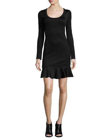Rag & Bone Brianna Long-Sleeve Flounce-Hem Dress