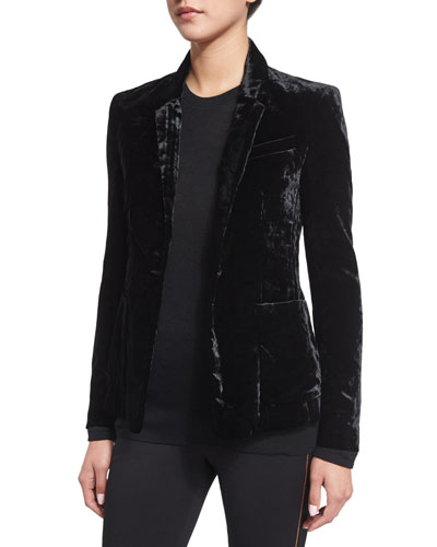 Loretta Crushed Velvet Blazer, Black