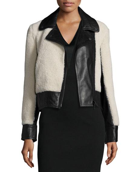 Rag & Bone Billie Leather & Lamb Fur Jacket