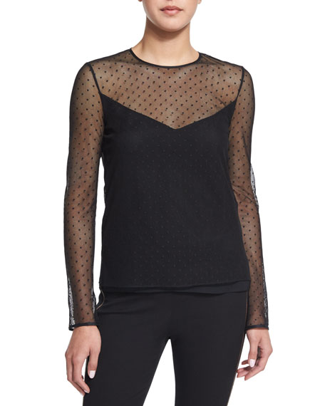 Rag & Bone Charlotte Swiss Dot Long-Sleeve Top