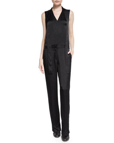 Rag & Bone Lois Sleeveless Satin Jumpsuit. Black