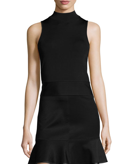 Lara Sleeveless Mock-Neck Top, Black