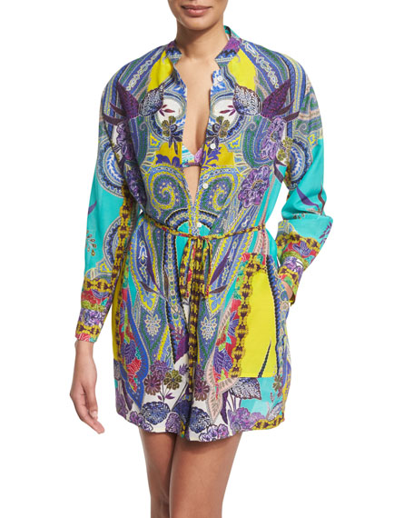 Etro Butterfly Paisley-Print Button-Down Coverup Top