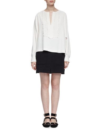 Long-Sleeve V-Neck Boho Blouse, Off White