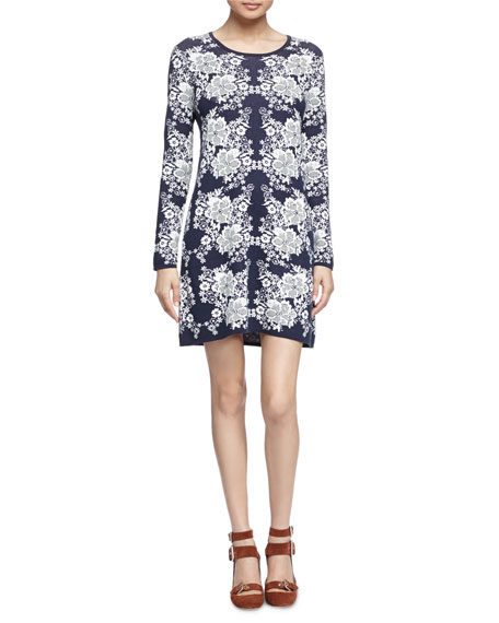 See by Chloe Lace-Print Jacquard Dress, Navy