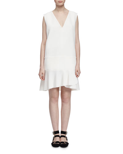 Sleeveless Crepe V-Neck Dress, Off White