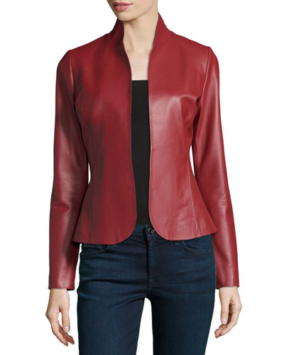 Leather Peplum-Back Blazer