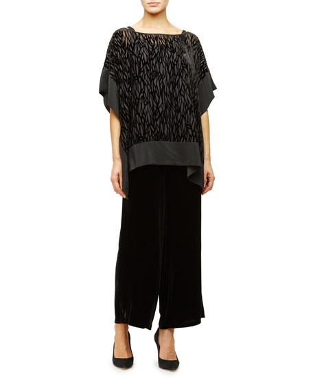 Eileen Fisher Burnout Velvet Poncho/Tunic, Silk Jersey Long