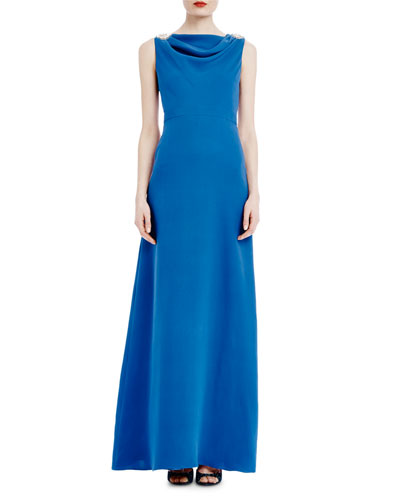 Sleeveless Cowl-Neck Open-Back Flared Gown