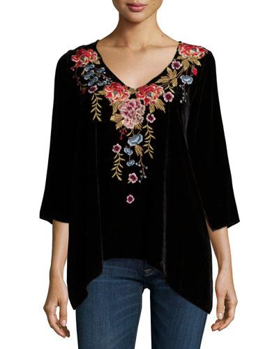 Amber 3/4-Sleeve Embroidered Velvet Tunic, Women's