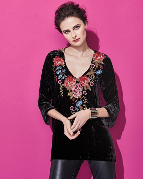 Amber 3/4-Sleeve Embroidered Velvet Tunic
