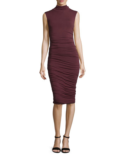 Ludlow Sleeveless Ruched Dress, Merlot