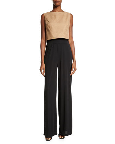 Jane Sleeveless Two-Tone Jumper, Camel/Black