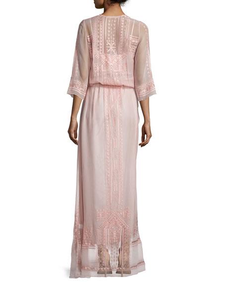 Vintage Boho Maxi Dress, Blush