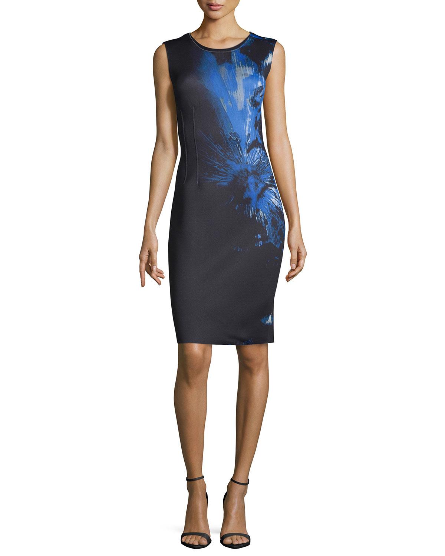 bfc49350da18 Elie Tahari Gwenyth Sleeveless Printed Sheath Dress | Neiman Marcus