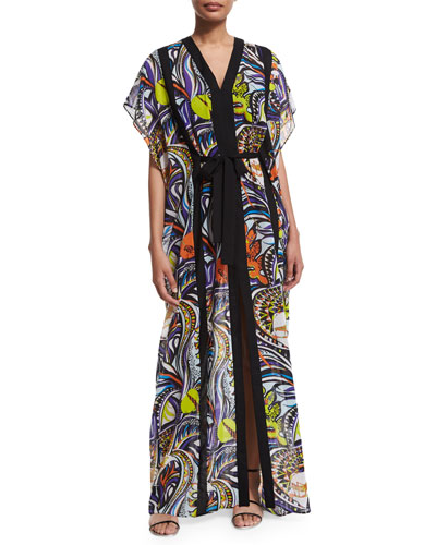 Light Grasshopper Long Caftan, Multi Colors