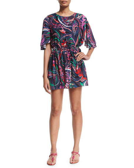 Emilio Pucci Dark Grasshopper Half-Sleeve Dress, Nero/Smeraldo