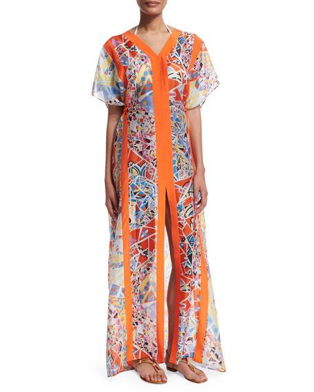 Emilio Pucci Light Mosaico Short-Sleeve Caftan Dress, Celeste/Arancio