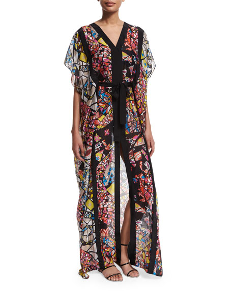 Emilio Pucci Light Mosaico Short-Sleeve Caftan Dress, Giallo/Corall