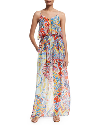 Light Mosaico Maxi Dress W/Pockets, Celeste/Arancio