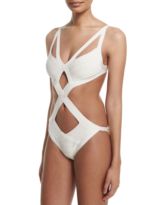 f17c815b0e Herve Leger Cutout Bandage One-Piece Monokini Swimsuit, Alabaster ...
