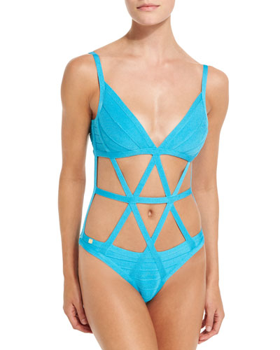 Cutout Bandage One-Piece Swimsuit, Caribbean Blue