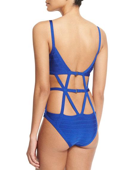 Cutout Bandage One-Piece Swimsuit, Blue Sapphire