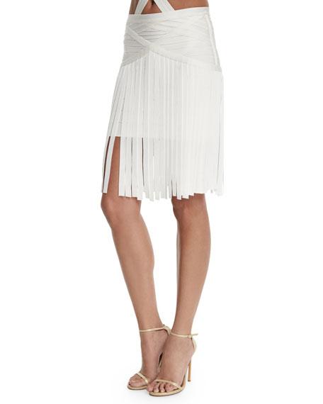 Herve Leger Fringe Coverup Bandage Skirt, Alabaster