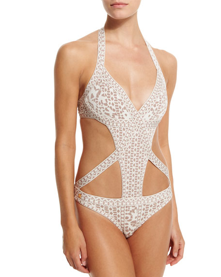 Herve Leger Printed Bandage Cutout One-Piece Swimsuit