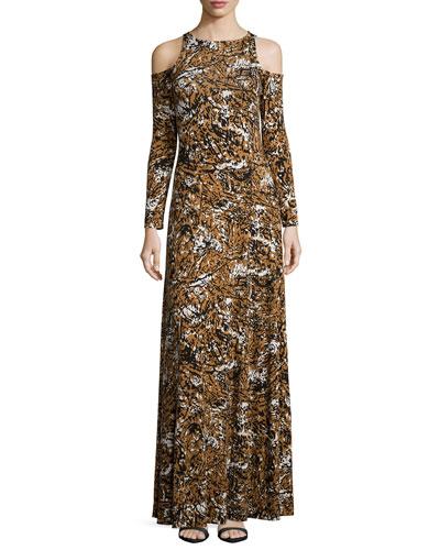 Romie Cold-Shoulder Printed Maxi Dress, Women's