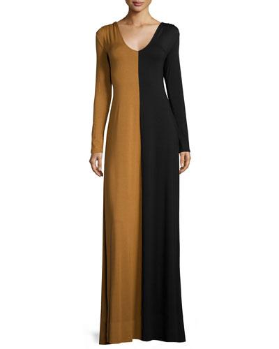 Long-Sleeve Two-Tone Maxi Dress, Women's
