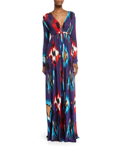 Long-Sleeve Printed Jersey Maxi Caftan Dress