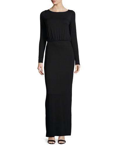 Flynn Long-Sleeve Column Maxi Dress, Women's
