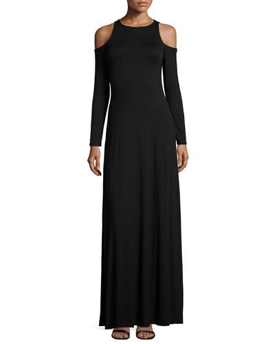 Romie Long-Sleeve Cold-Shoulder Maxi Dress, Women's