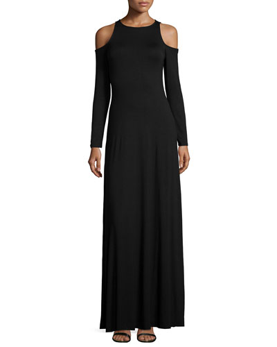 Romie Long-Sleeve Cold-Shoulder Maxi Dress