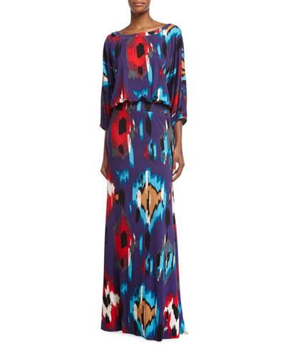 Aurora 3/4-Sleeve Ikat-Print Maxi Dress, Women's