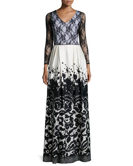 Lace-Top V-Neck Maxi Dress, Plus Size