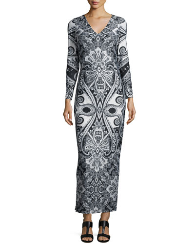 Paisley-Print Jersey Maxi Dress, Women's