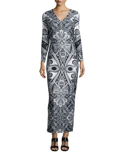 Paisley-Print Jersey Maxi Dress